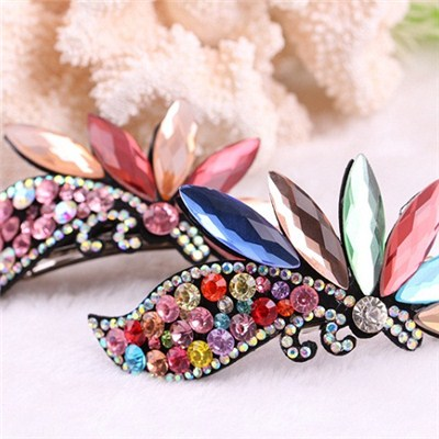 2015 Korean Elegant And Colorful Crystal Spring Clip Hairpin, Colorful Twist Horsetail Hair Accessories,Welcome To Sample Custom