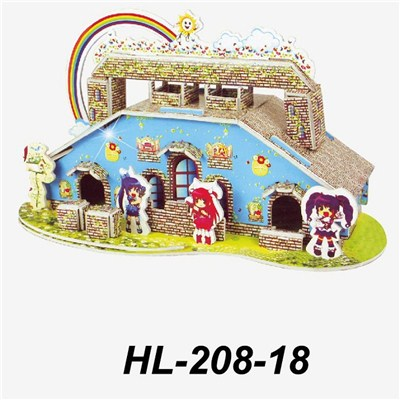 2015 Children''s Educational Toys 3 D Puzzle, Diverse Styles Castle House Color Print Puzzles,Welcome To Sample Custom