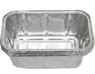 Rectangular disposable aluminium foil containers for fast food