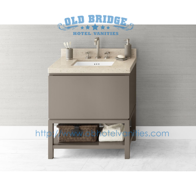 hotel corner vanity base with wooden legs