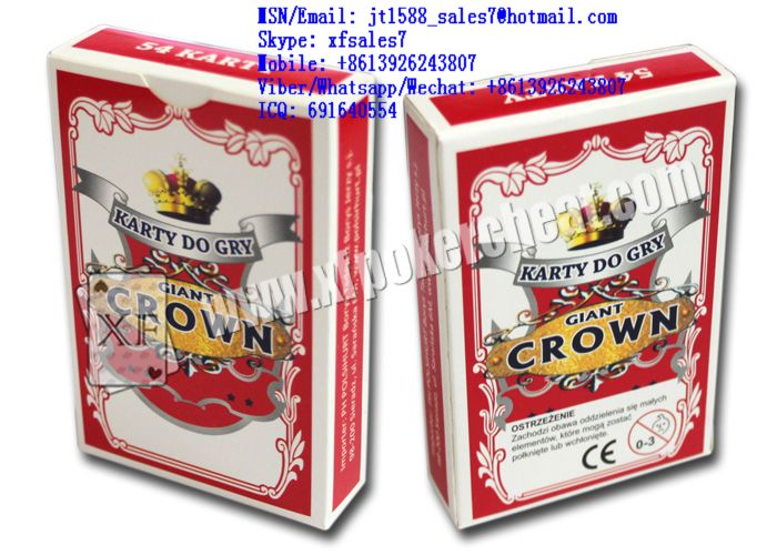 XF Russian Giant Crown paper playing cards for with invisible ink bar-codes  / Wide-Angle / Hidden Bar code / DSpecial Made / Range / Watch scanner / Lighter scanner / marked cards / invisible ink