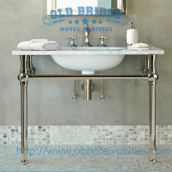 Hotel Bathroom Vanity Base With Metal Legs