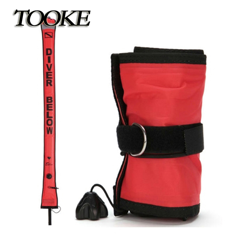 TOOKE SMB 1.8*18cm Nylon Pull Diving Buoys With Vale Surface Marker Buoy