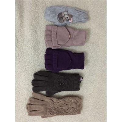 Knitted Gloves With Sequins Patches Fingers