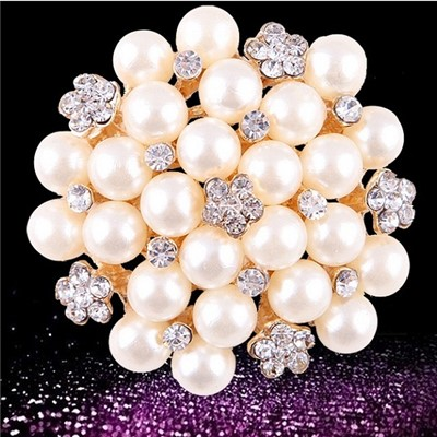 2015 Hot Style Hot Fashion Pearl Brooches, Full Of Fashionable Diamond Flower Brooch,Welcome To Sample Custom