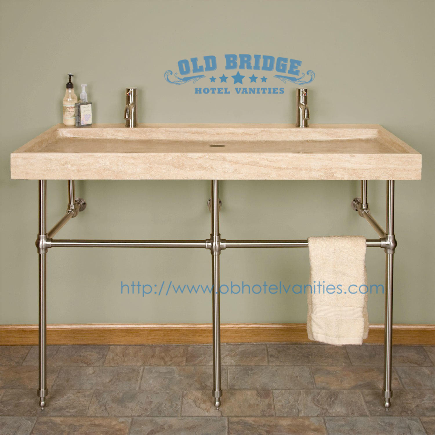 Hotel Bathroom Vanity Base with Metal Legs