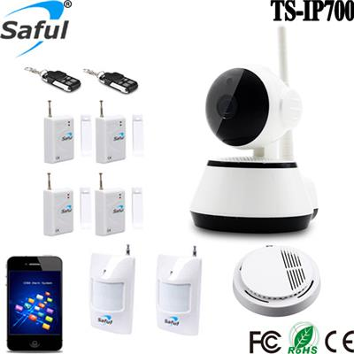 Fire Alarm System Security Wireless+ Wifi P2P HD IP Camera 720p For Home 2 In 1 Burglar Alarma Camera