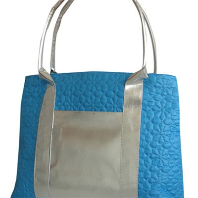 Silver Tote Bag With Lining Slip Pocket