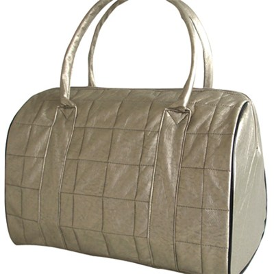 Silver Large Roomy Round Woman Lady Quilting Bag