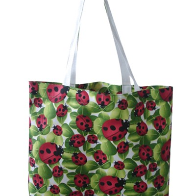 Green And Red Printed Beach Bag