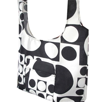 Black And White Bubbles Printed Beach Bag