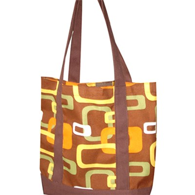 Brown And Yellow Chains Printed Beach Bag