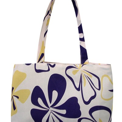 Colorful Purple Yellow Flowers Printed Shopping Bag