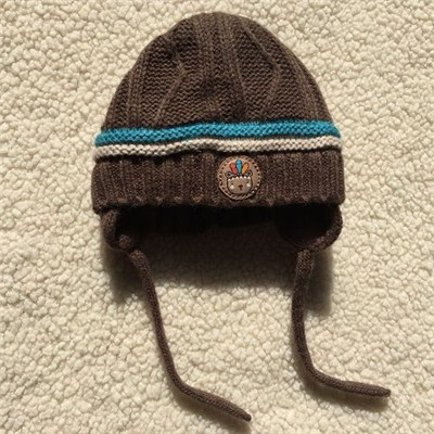 Fleece Lined Knit Logo Hat With String