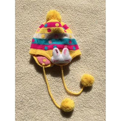 Kids Fleece Lined Hat With Pompoms And 3D Head