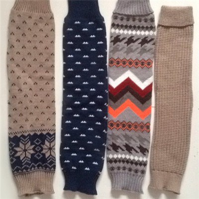 Extra Long Women's Thick Slouchy Navy Brown Gray Knit Leg Warmers