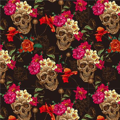 Hydro Graphics Film Water Transfer Printing Technology - Flower Skulls GWR025