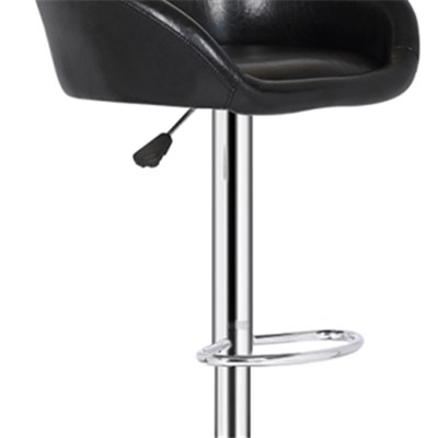 Black High Leather Bar Chair