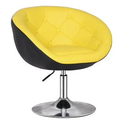 Yellow Leather Bar Chair With Buttons