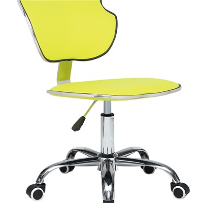 Yellow Leather Bar Stool With Wheels