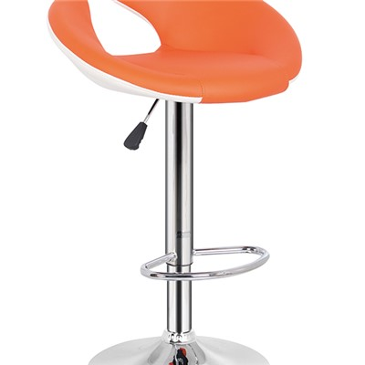 Orange Leather Bar Stool With Footrest