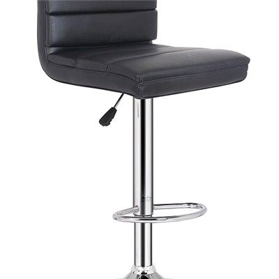 Black Leather Bar Chair With Footrest
