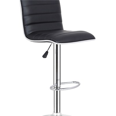 Black Leather Bar Chair With Silver Edge