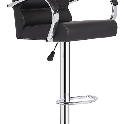 Black Leather Bar Chair With Armrest