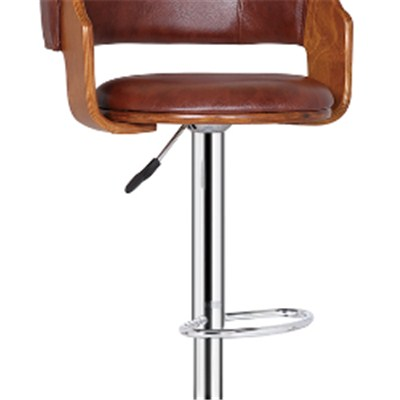 Brown Pu Wooden Bar Stool With Footrest