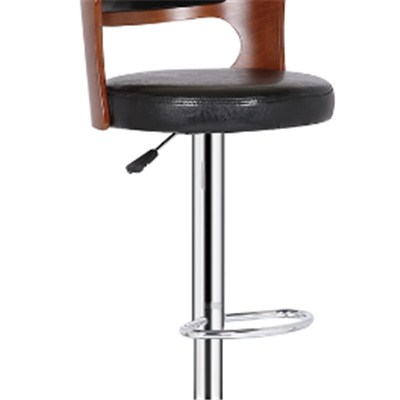 Black Leather Wooden Bar Stool