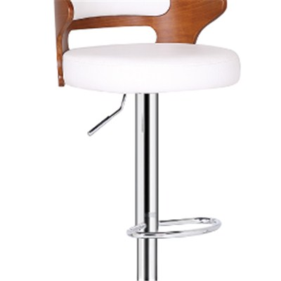 Leather Wooden Bar Stool With Backrest