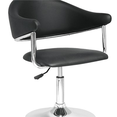 Swivel Black Leather Bar Chair