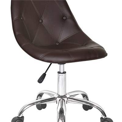 Brown Leather Bar Stool With Wheels