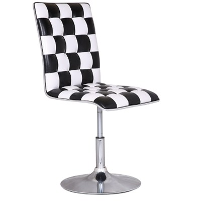Black And White Grid Leather Bar Stool