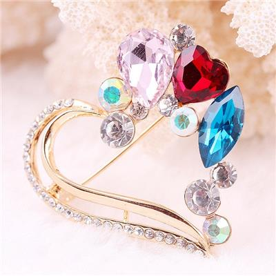 2015 Korean Fashion High-grade Crystal Alloy Hollow Peach Heart Brooch, Fashion Female Diamond Brooches,Welcome To Sample Custom