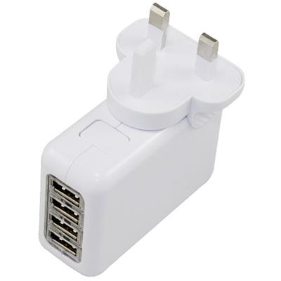 4 Ports USB Charger UK Plug