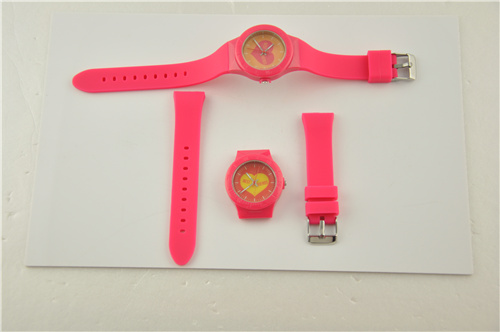 Interchangable Plastic Watch with Rubber Band