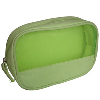 Canvas + Nylon Mesh Cosmetic Bag