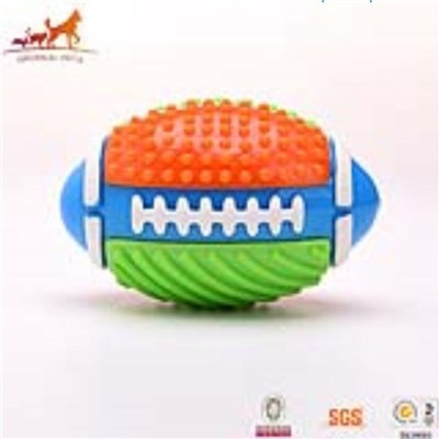 Colorful TPR Dog Chew Rugby Football Toy