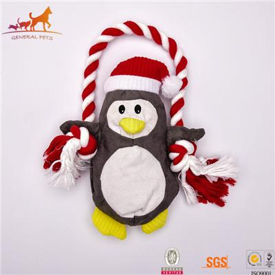 Plush Fetch Toy And Tug Of War Rope Cute Penguin