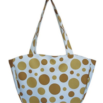 Yellow Bubbles Printed Beach Tote Bag