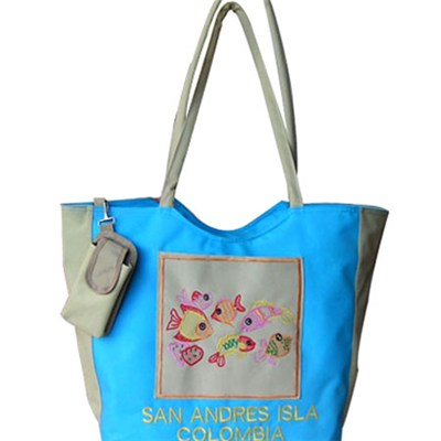 Embroidered Fishes Beach Tote Bag