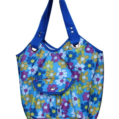 Large Roomy Lady Woman Colorful Flowers Beach Bag Tote Bag