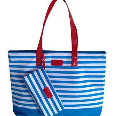 Large Roomy Nautical Striped Beach Tote Bag