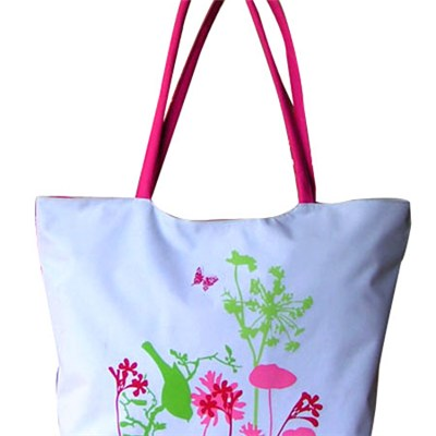Plants, Flowers And Butterfly Printed Beach Tote Bag