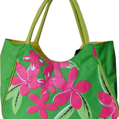 Big Red Flower Printed Beach Tote Bag