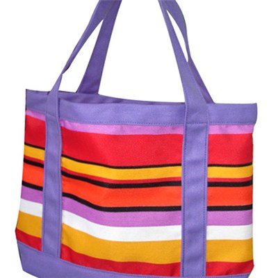 Large Roomy Colourful Stripes Canvas Beach Tote Bag