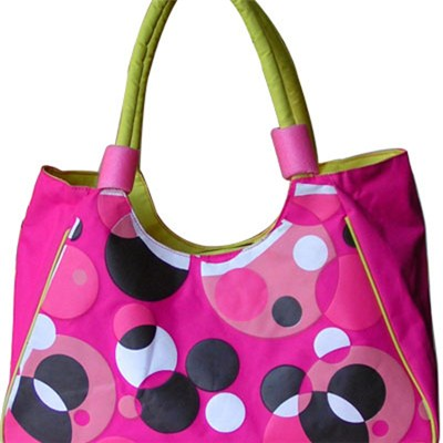 Purple-red Bubbles Beach Bag Tote With Inner Slip Pocket Tote Bag