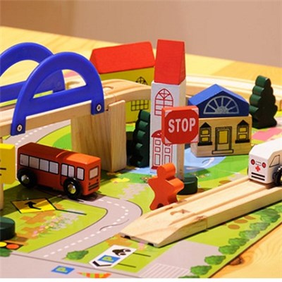 2015 Authentic 40 PC Urban Rail Overpasses Toys, Traffic Scene Combination Wooden Toys, The Train Track Disassembling,Welcome To Sample Custom