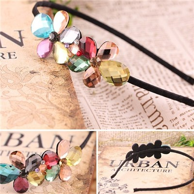 2015 Korean Fashion Bowknot Imitation Crystal Ornaments, Diamond-encrusted Wide-brimmed Flannelette Hair Hoop Ornaments Headdress,Welcome To Sample Custom